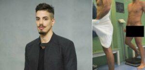 Felipe de Carolis pelado em fotos na academia